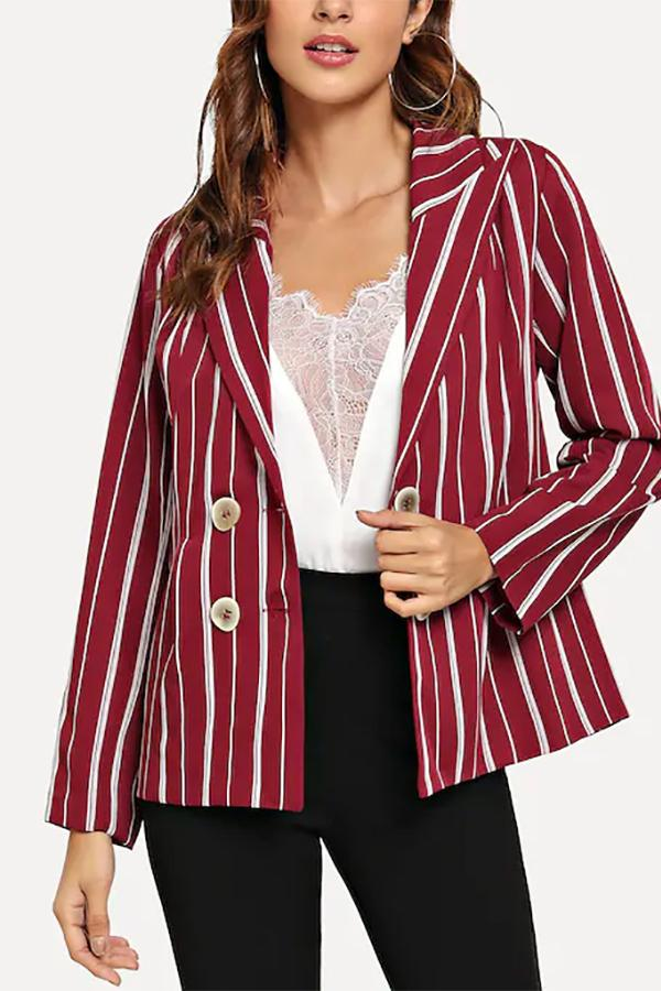 Casual Show Thin   Strips Button Suit Jacket Coat Red s