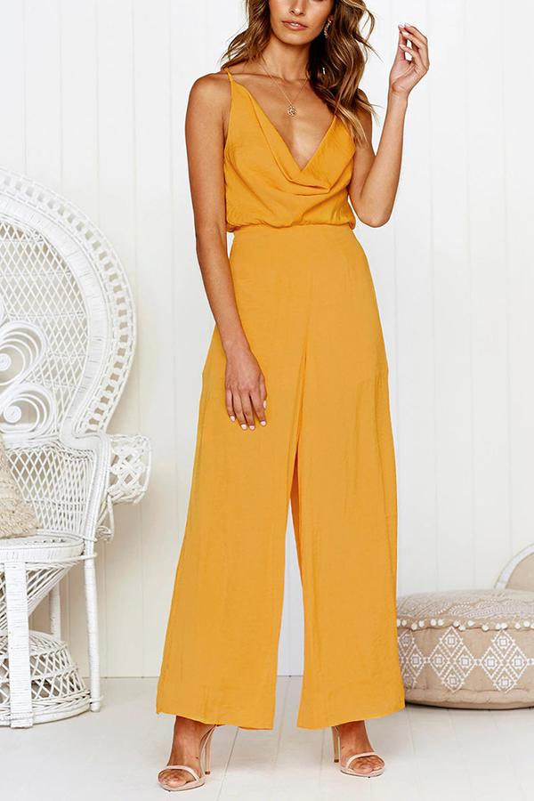 Fashion Sexy V Neck   Sling Pure Color Jumpsuit Yellow s