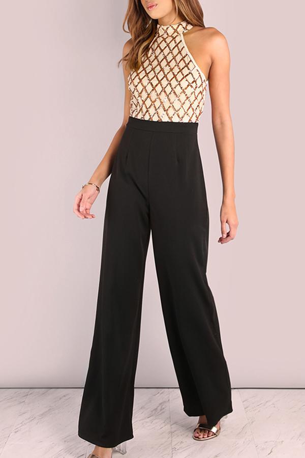 Fashion Sleeveless Sequins Splicing Jumpsuits Gold s