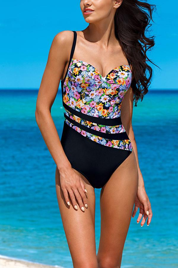 Sexy bikini floral print one-piece swimsuit Same As Photo s