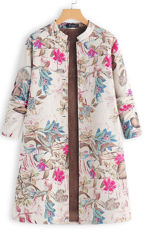 Retro Floral Printed Long Sleeves Oversize Low Collar Coat Red m