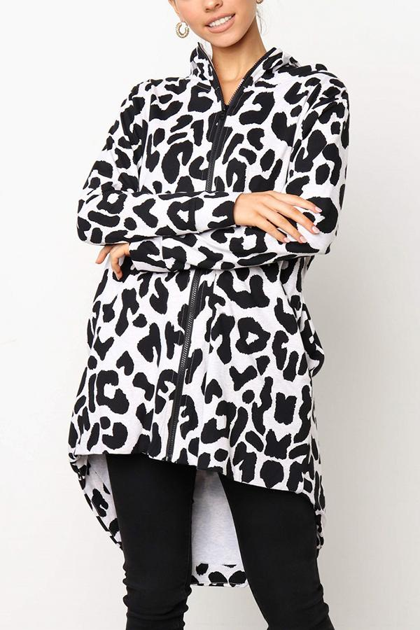 Casual Loose Leopard Print Windbreaker Coat White Black s