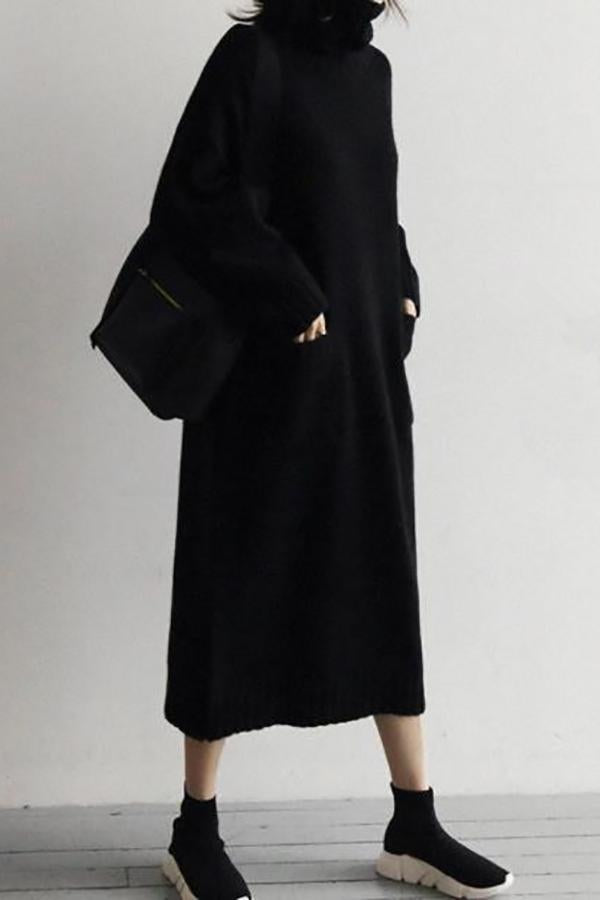 Fashion Simple Loose High Collar Knitted Maxi Dress Black one size