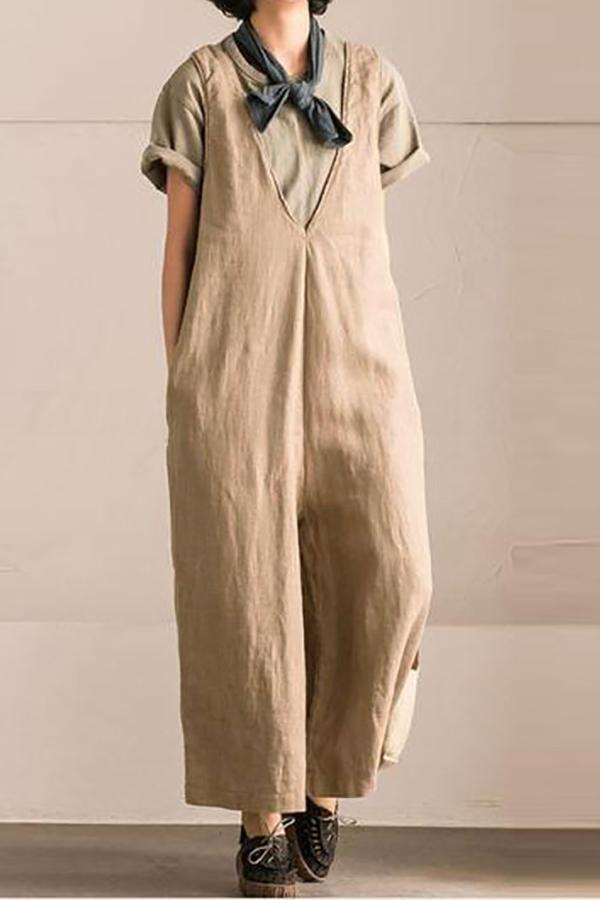 Casual Loose Plus Size   V Neck Wide Leg Jumpsuit Khaki l