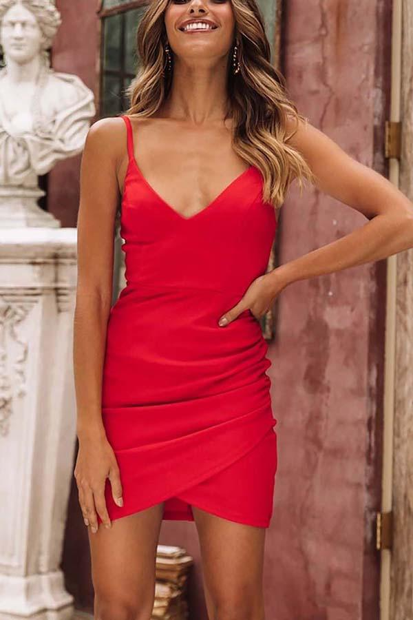 Casual Sexy Deep V   Neck Slim Pure Color  Sling Mini   Dresses Red s