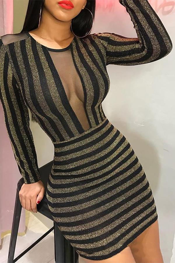 Sexy Hollow Out Striped Bodycon Dresses Black s