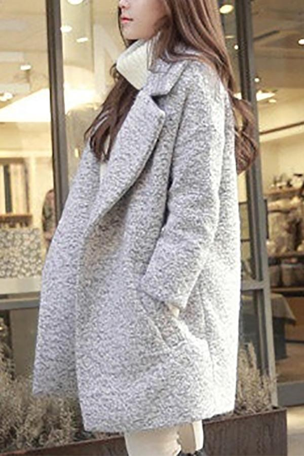 Fashionpure Colour Long Sleeve Loose Thickening Coat Same As Photo s