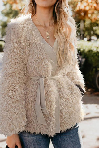 Image of Elegant Fashion Slim Woolen Solid Color Long Sleeve Cardigan Same As Photo one size