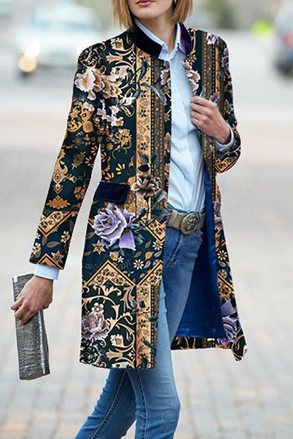 Fashion Floral Pattern Printed Long Sleeve Coat Same As Photo s
