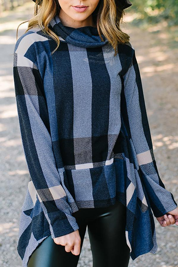 Fashion Irregular Check Long Sleeve T-Shirt Blue s
