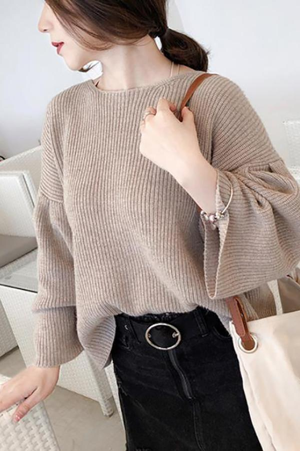Casual Loose Long   Sleeve Pure Color Knitting Sweater Beige one size