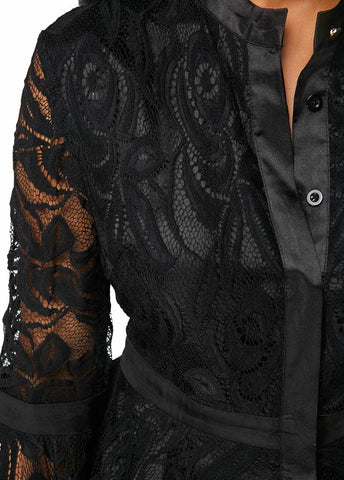 Image of Fashion Lace Spliced   Horn Sleeve T-Shirt Blouse Black 4xl