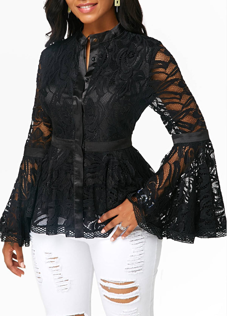 Fashion Lace Spliced   Horn Sleeve T-Shirt Blouse Black l