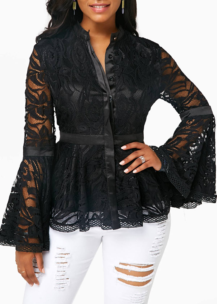 Fashion Lace Spliced   Horn Sleeve T-Shirt Blouse Black 2xl