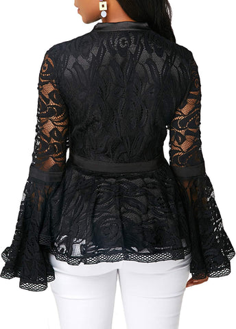 Image of Fashion Lace Spliced   Horn Sleeve T-Shirt Blouse Black 3xl