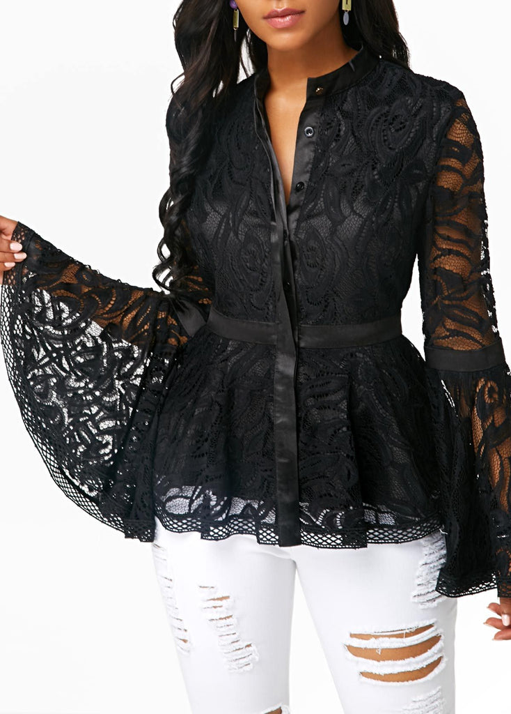 Fashion Lace Spliced   Horn Sleeve T-Shirt Blouse Black xl