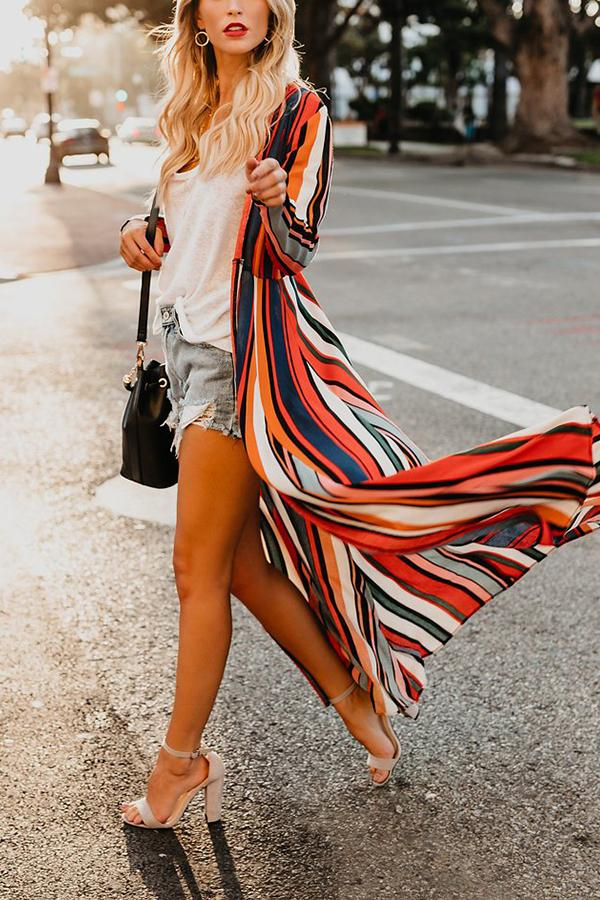 Fashion Colored   Striped Loose Chiffon Cardigan