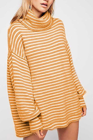 Image of New Turtleneck Striped Loose Pullover Sweater khaki s