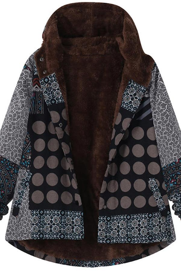 Casual Plaid Print Hooded Jacket Black m