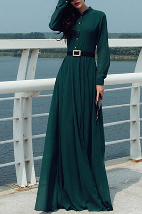Band Collar Maxi Dress Dark Green s