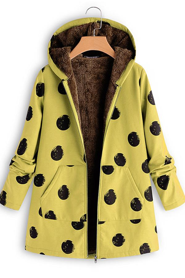 Polka Dot Selling So Printed Jacket Yellow s