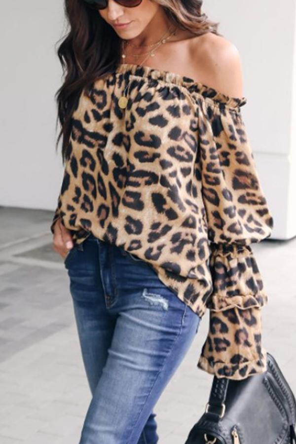 Leopard Printed Off Shoulder Flare Long Sleeve Sexy Blouses Brown Leopard Print s