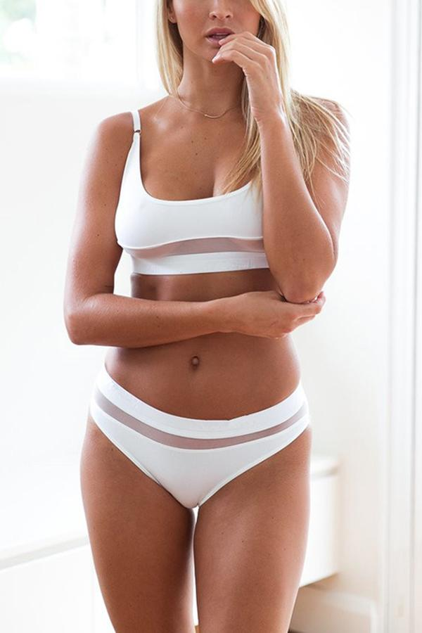 Sexy solid color bikini mesh openwork split swimsuit White s
