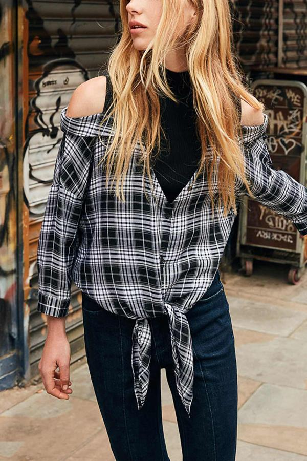 Casual Long Sleeve Plaid Stitching Off Shoulder Shirt Black s