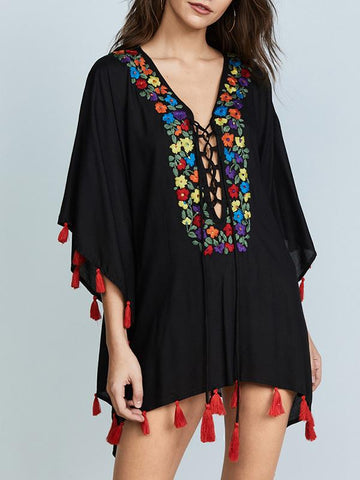 Red Tassels Bandage Sleeveless Embroidered Cover-Ups FREE SIZE