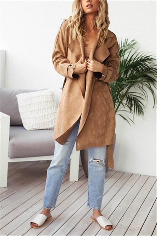 Fashion Pure Color Casual Long Sleeve Lapel Collar Zipper Belt Oversize Jacket Coat Khaki s