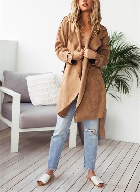 Fashion Pure Color Casual Long Sleeve Lapel Collar Zipper Belt Oversize Jacket Coat Khaki m