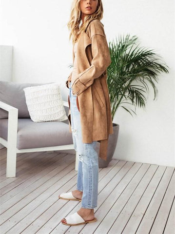 Image of Fashion Pure Color Casual Long Sleeve Lapel Collar Zipper Belt Oversize Jacket Coat Khaki l
