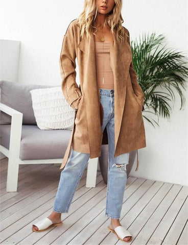 Image of Fashion Pure Color Casual Long Sleeve Lapel Collar Zipper Belt Oversize Jacket Coat Khaki xl