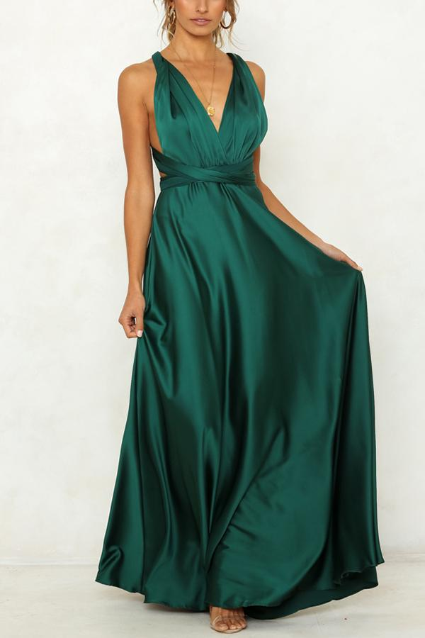 Casual Sexy V Neck   Backless Pure Color Maxi Dresses Green s