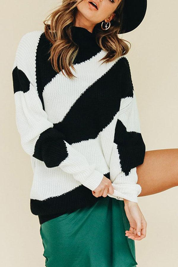 Diagonal Stripes For Baggy   Sweaters white s