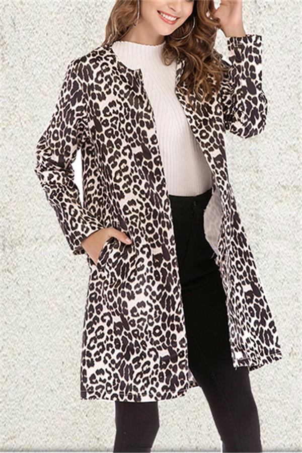 Fashion Sexy Long Sleeved Leopard Print Trench Coat Leopard Print s