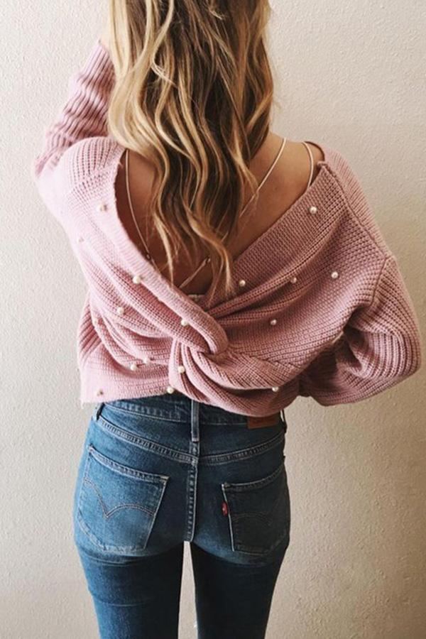 Loose Backless Irregular Cross Pearl Knit Sweater pink one size