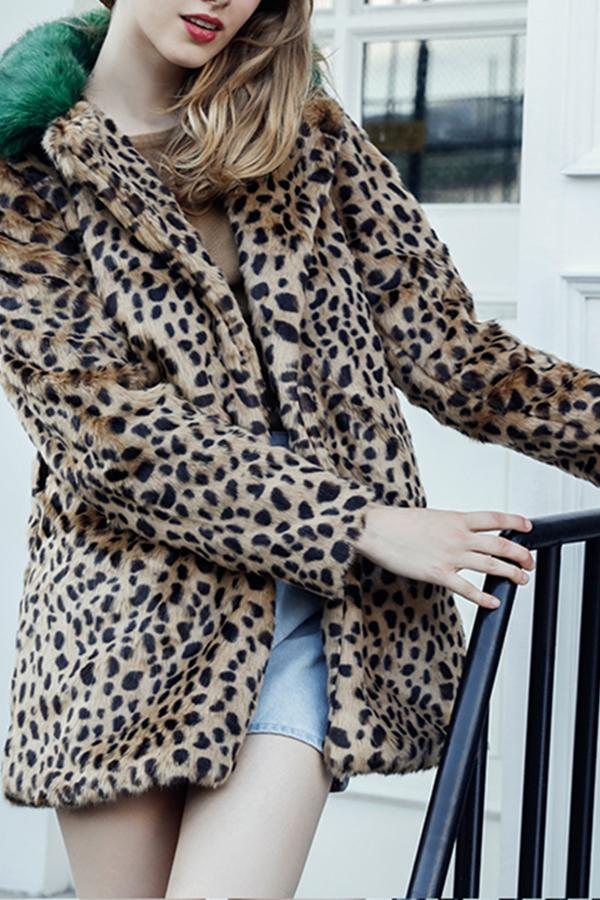 Lapel Color Block Leopard Printed Long Sleeve Fur Coats brown_leopard_print s