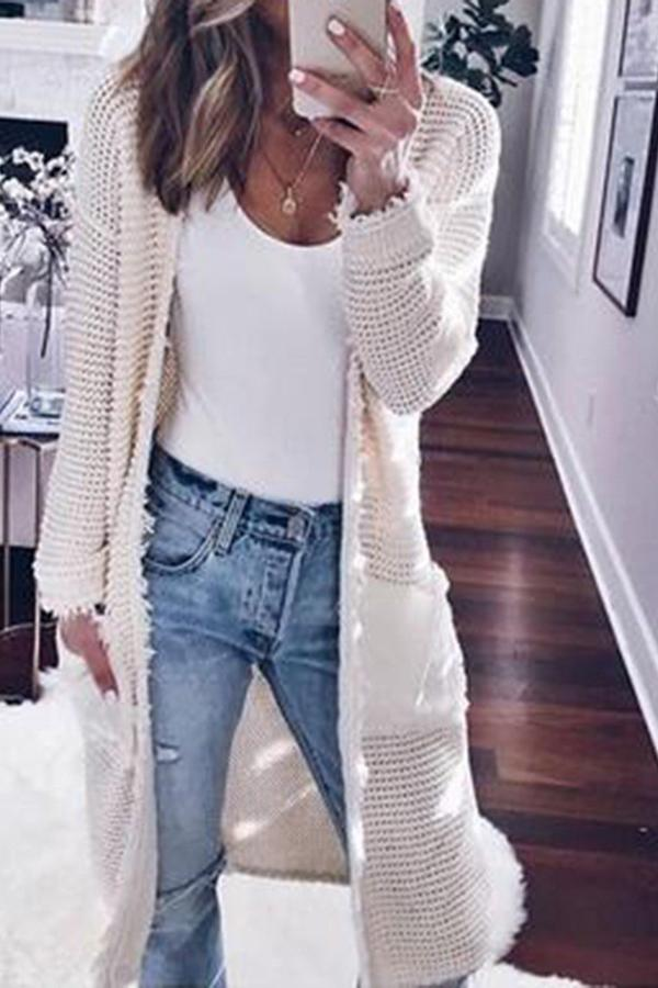 Fashion Long Sleeve Plain Pocket Cardigans White s