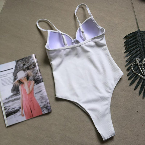 Image of Sexy backless one-piece bikini hard bag steel tube swimsuit one-piece female swimsuit Black l