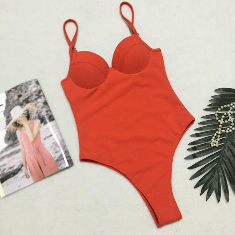 Sexy backless one-piece bikini hard bag steel tube swimsuit one-piece female swimsuit Orange Red m