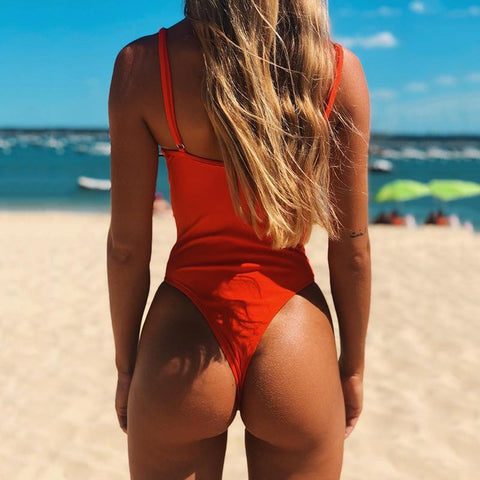 Image of Sexy backless one-piece bikini hard bag steel tube swimsuit one-piece female swimsuit White l
