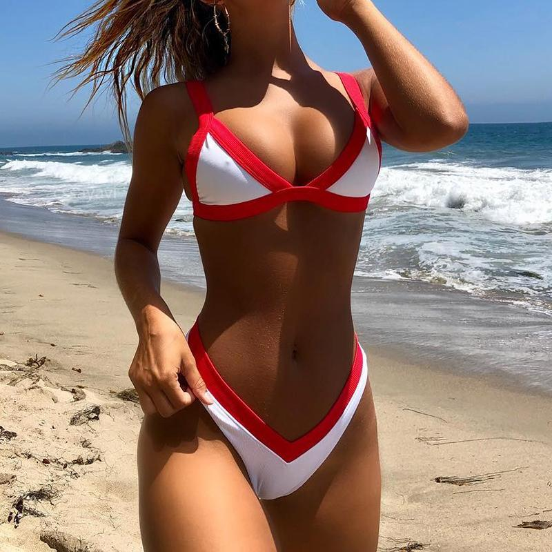 Sexy solid color bikini split swimsuit Red m