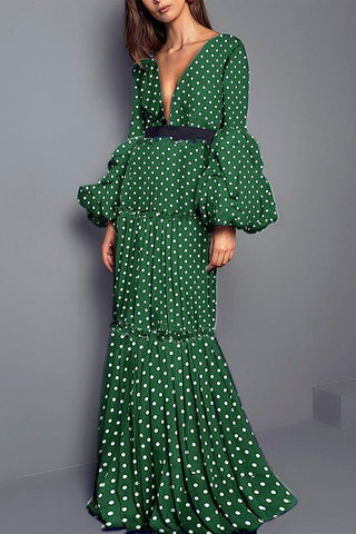Image of Sexy Polka Dot Split Joint Maxi Dress green s