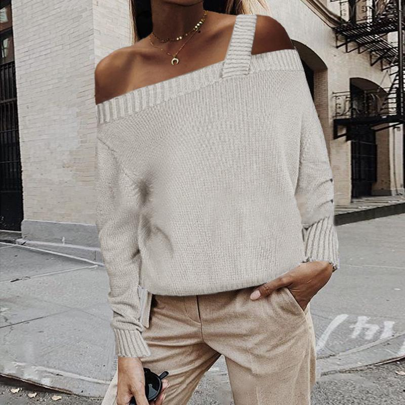 Sexy Word Shoulder Solid Color Sweater