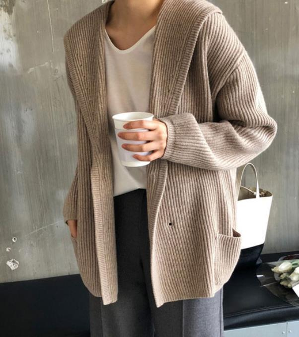 Fashion Long Sleeve Knitted Hooded Cardigan Coat