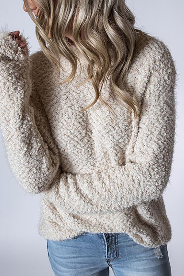 Fashion Long Sleeve Plush Sweater White s