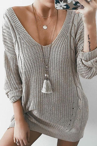 Image of Sexy Deep V Neck Long Sleeve Knitting Sweaters gray s