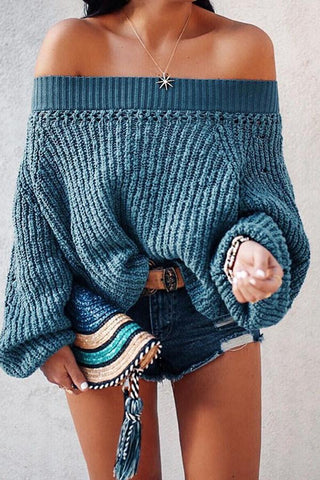 Image of Sweater Lantern Long Sleeve Sweaters blue s