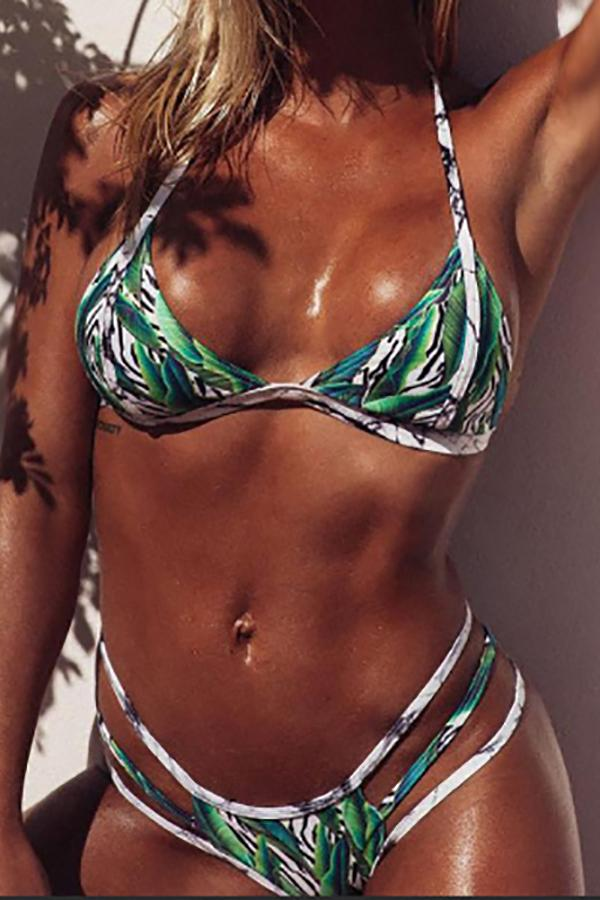 Sexy bikini leaf print high waist split swimsuit Same As Photo s